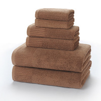 3Pcs Brown Towel Set for Adult 100% Cotton Soft Jacquard Solid Color Hand Face Bath Towels Thick Absorbent Summer Beach Towel