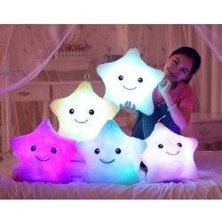 Dropshipping 1 unids 38 cm Led luz almohada luminosa almohada Navidad juguetes felpa almohada coloridas estrellas calientes, regalo de cumpleaños para niños