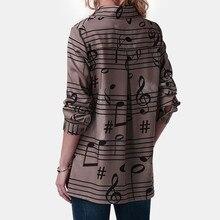Musical Note Print Long Sleeve Button Shirt