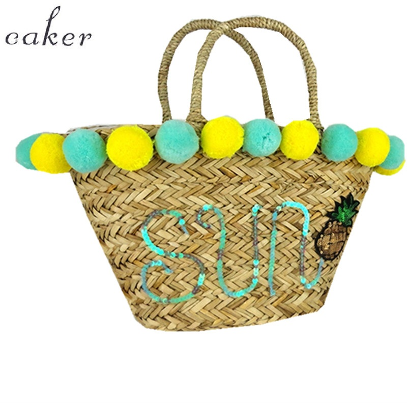 Caker 2018 Women Large Big Embroidery letter Straw Handbags Sequins flower diy custom made Beach Handbag Colorful Bags
