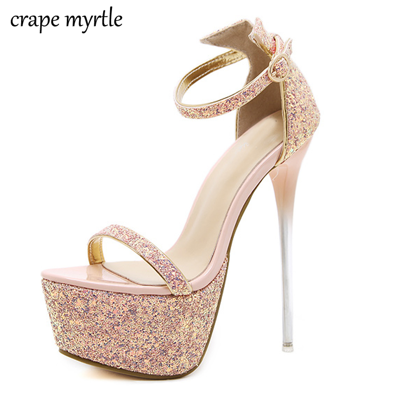 women heels 2018 Platform Sandals Wedding Shoes High Heel pumps Crystal glitter shoes Pumps pink Sandals Party Prom Shoes YMA142 baoyafang white red tassels women wedding shoes bride 12cm 14cm high heels platform shoes woman high pumps female shoes