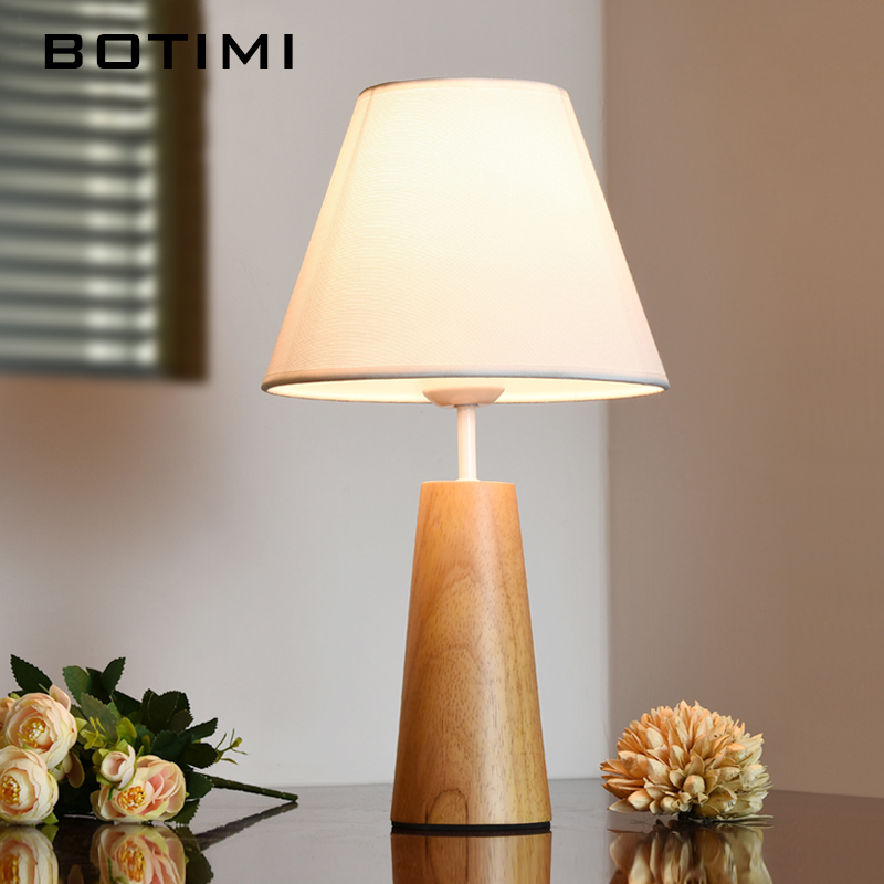 BOTIMI Wooden Table Lamp With Fabric Lampshade Bedside Desk lights lamparas de mesa Book Lamps Deco Luminaria Reading Lighting