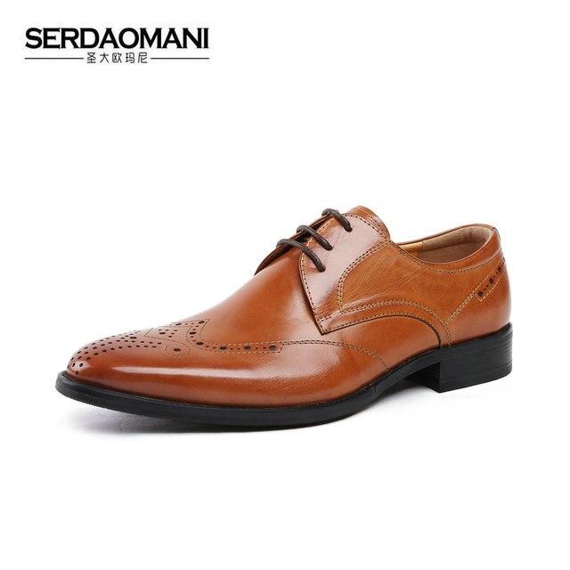 Merek Fashion pria Gaun Bisnis Brogue Sepatu Untuk Pesta Pernikahan Retro  menunjuk Toe Oxford Sepatu kulit bbc2e88435