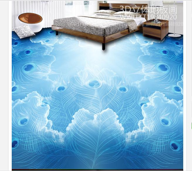 ФОТО Customized 3d wallpaper 3d pvc floor painting murals peacock 3D stereo floor paint beauty wall room decoration