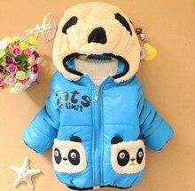 Панда зимняя верхняя прекрасный капюшоном младенческой новая мальчиков печати пальто мультфильм