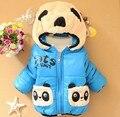 2017 Новая Зимняя Панда Мальчиков Верхняя Одежда с капюшоном прекрасный мультфильм печати Младенческой Пальто A305