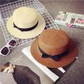 Summer sunhat female fashion strawhat bow flat beach hat free shipping