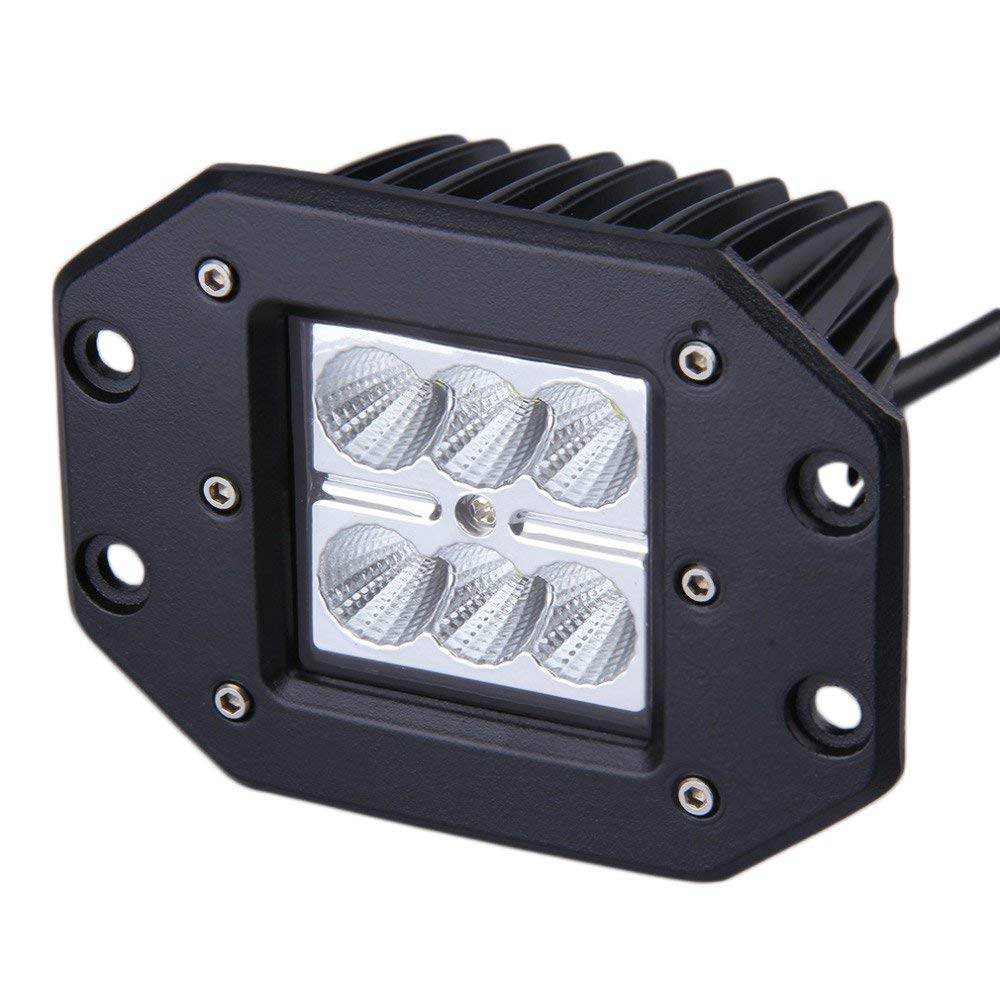 2PCS 18w Led Work Light Flush Mount Driving Light Offroad Super Lighting Flood Spot Beam For
