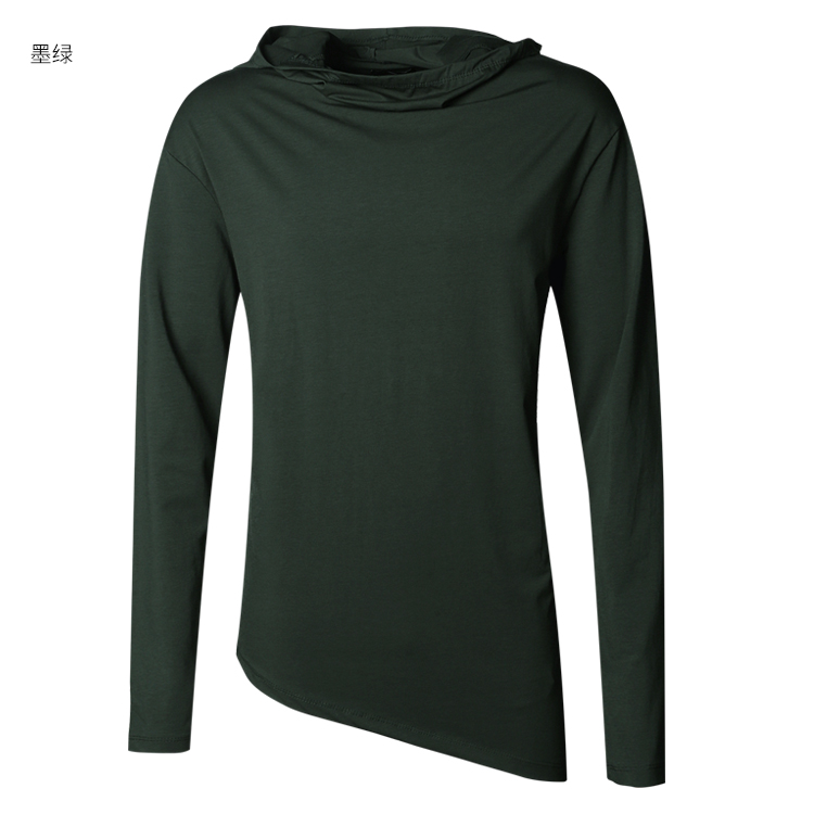 HTB1uboAXjzuK1RjSspeq6ziHVXaD - Men Autumn New European Style High Collar Long Sleeve Hooded T-shirt with Cap Men Slim Casual Cotton Irregular T-shirt T908