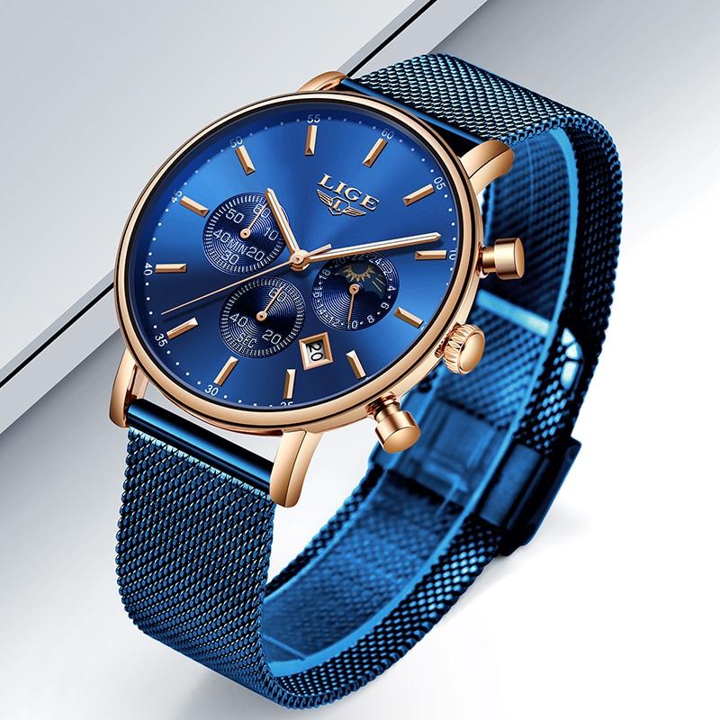 LIGE New Mens Watches Top Brand Luxury Fashion Ultra Thin Blue Strap Quartz Watch Men Moon Phase Clock Calendar Waterproof Watch in Quartz Watches from Watches