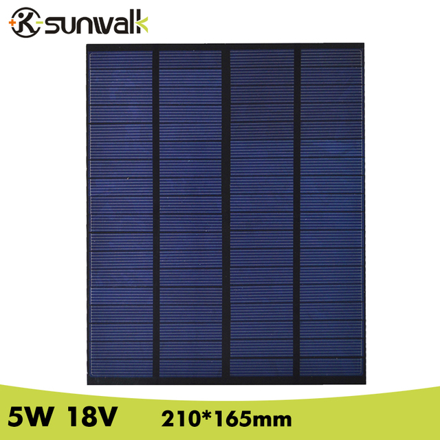 SUNWALK 5W 18V 270mAh Solar Panel Polycrystalline PET Mini Solar Panel Cell Module for DIY Solar System 210*165mm