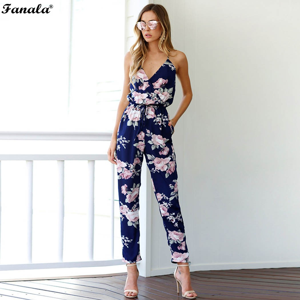 FANALA 2018 Summer Elegant Womens Rompers Jumpsuit Casual Floral Print Bodysuit Sleeveless V-Neck Long Playsuits for Women #20
