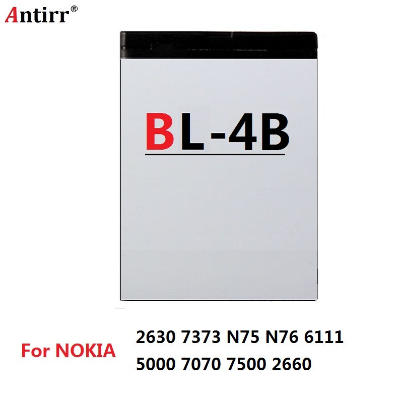 Antirr Cellphone Li-ion Battery BL-4B BL4B For <font><b>Nokia</b></font> 2630 7500 6111 7370 7373 7070 5000 <font><b>N76</b></font> image