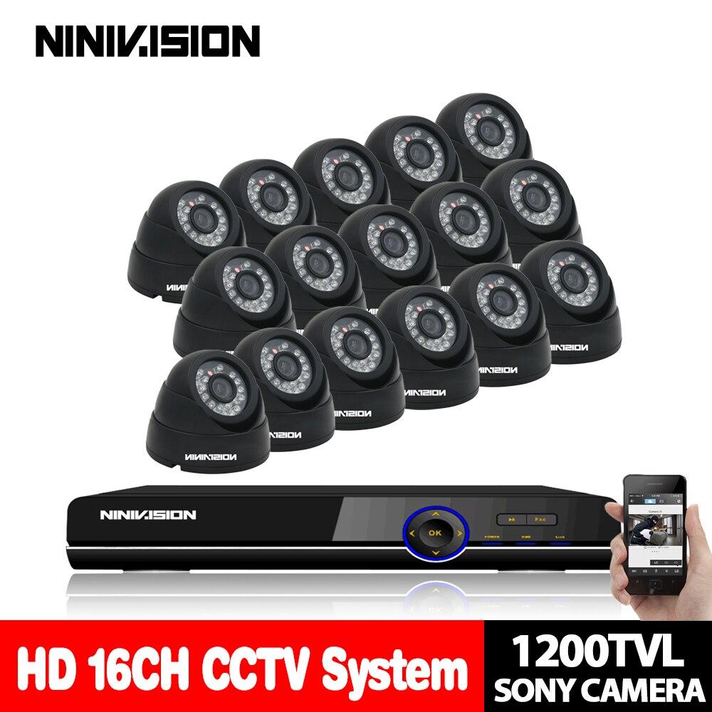 NINIVISION Главная видеонаблюдения Системы 16ch 1080 P купол sony 1200tvl камеры безопасности Системы dvr kit 16 каналов видеонаблюдения DVR записи системы