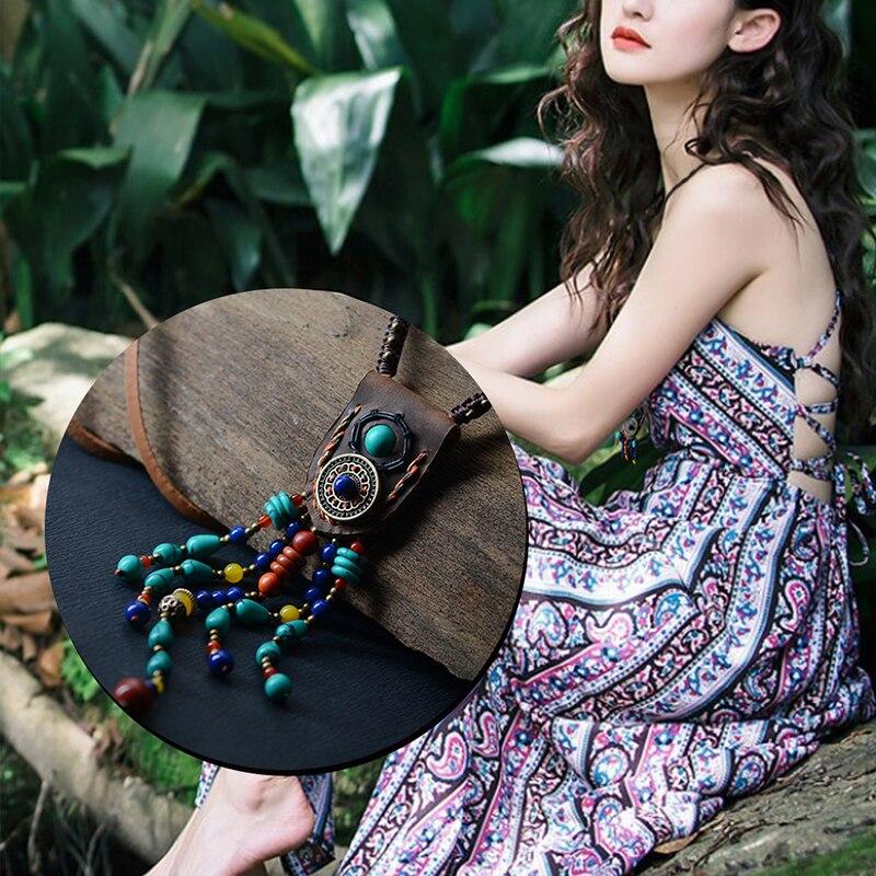 boho jewelry ethnic maxi long Necklace women leather chain stone peacock feather pendants bohemian fashion 2018 Dropshipping