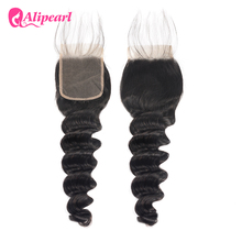 AliPearl Hair Brazilian Human Hair Loose Deep Lace Closure 4