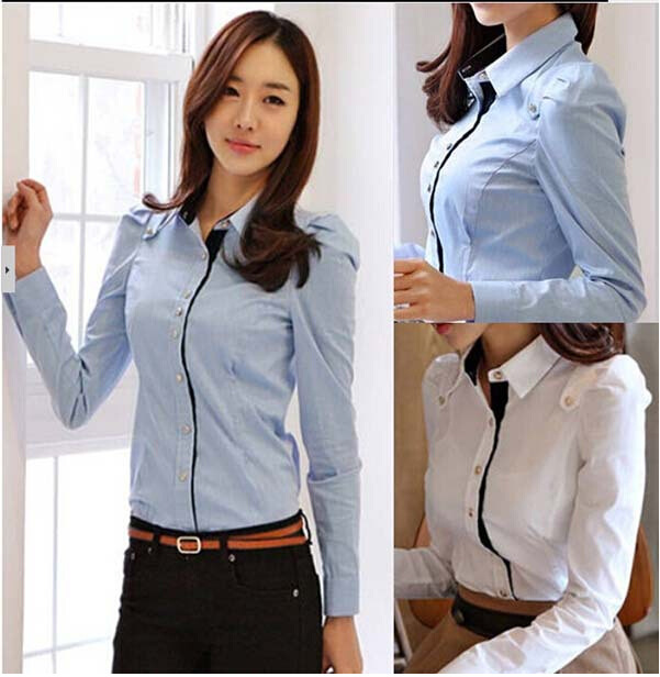 efe9d9a50 Custom Made Women office work Blouses lady button top Shirts stand Lapel formal  wear white blue