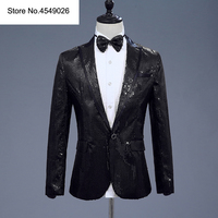 Sequin Men Suit Jacket Blazer With Bow Tie Gold White Red Blue Pink Purple Costume Nightclub Singer Wedding Grooms Shiny Blazers