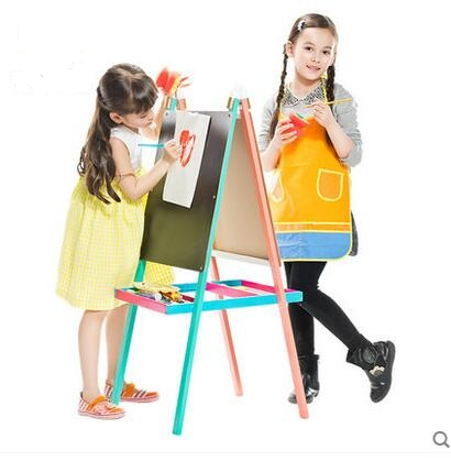 New Arrival colorful Children drawing board writing board easel double-sided non-magnetic easel Bracket-type blackboard цена