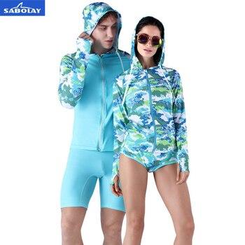 37192ad819d81 SABOLAY hombres mujeres amantes del estilo Rash Guards camisas traje  Beachwear suave cremallera Lycra surf protección UV deportes trajes