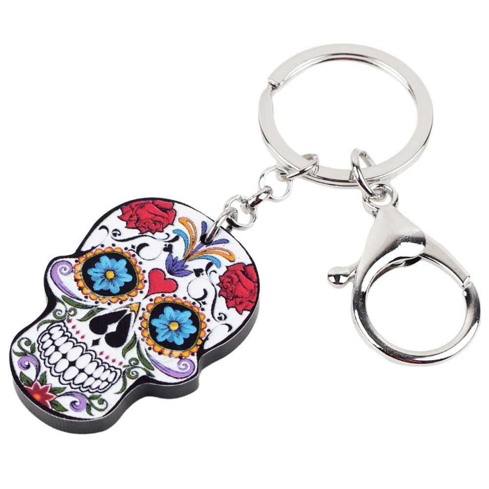 Bonsny акриловые с мультипликационным принтом в виде скелета на Хэллоуин новая модель черепа для ключей брелки-цепочки для Для женщин Дамы подростков Сумочка автомобиль украшения-ключи подарок