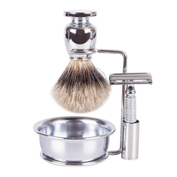 SV 612 high quality metal handle shaving beard makeup cosmetic brush set +metal stand+shaver+shaving bowl