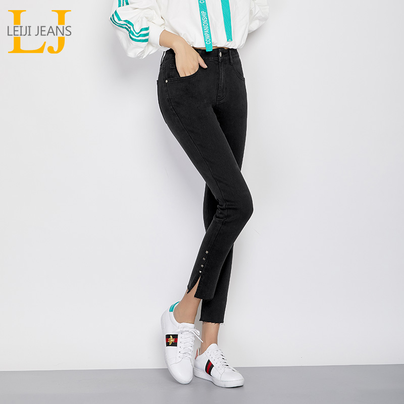 LEIJIJEANS Autumn Skinny Pencil Jeans Mid Waist Ankle Length Rivet Plus Size High Street Elastic Black Jeans Women 50-120kg 7216