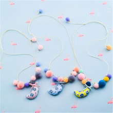Korea Handmade Cute Plush Ball Fabric Print Moon Children Necklace For Girls Kids Apparel Accessories-HZPRCGNL030F