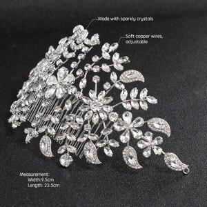 Image 2 - Klasik şeffaf kristaller Rhinestone büyük gelin düğün kafa bantları saç Combs kadınlar Tiara ayarlanabilir saç takı başlığı HG085