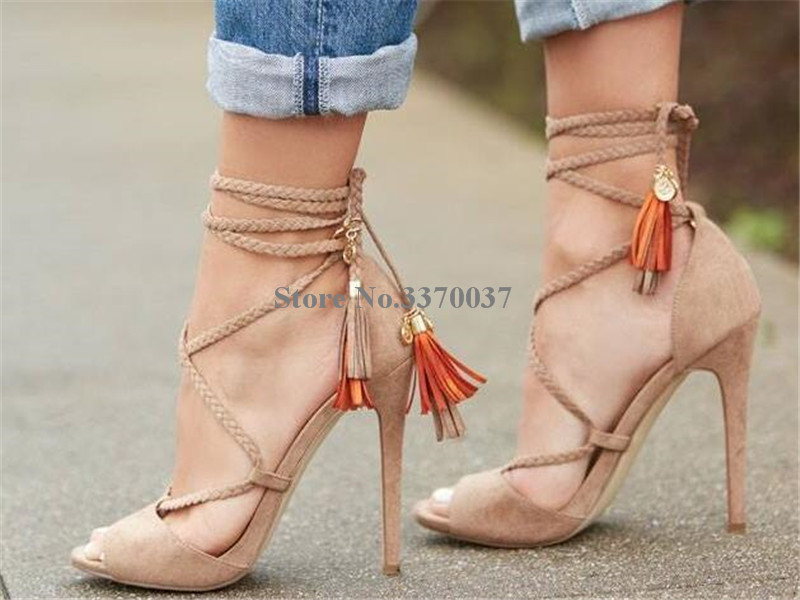 все цены на Hot Selling Women Summer Fashion Open Toe Suede Leather Tassels Gladiator Sandals Cut-out Lace-up High Heel Sandals Dress Shoes