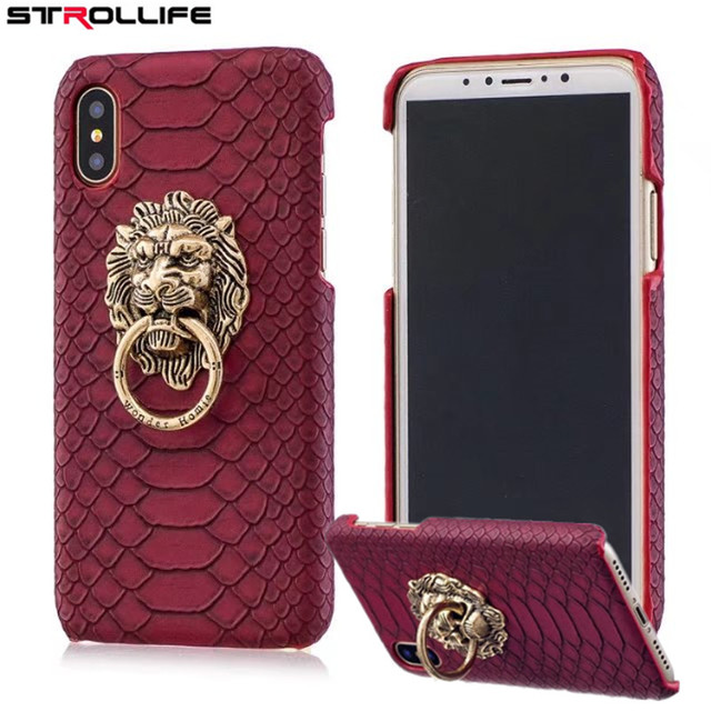 wholesale dealer e24dd 32e40 US $3.99 |STROLLIFE For iPhone X case Retro 3D Lion Head Metal Ring Holder  Stand Phone Cases For iPhone X Snake Skin Hard Back Cover Shell-in Fitted  ...