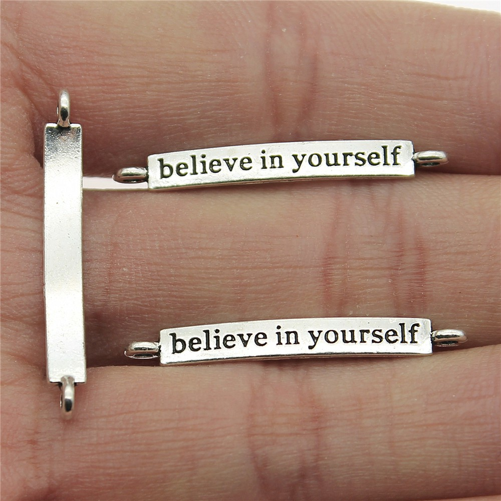 20pcs 4x32mm Believe In Yourself Connector Charms For Jewelry Making Antique Silver Color Jewelry Accessories