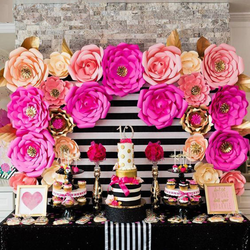 Detail Feedback Questions About 1pcs 30 40cm Paper Flower DIY Artificial Flowers Birthday Party Wedding Decoration Fake Rose Backdrop Baby Shower