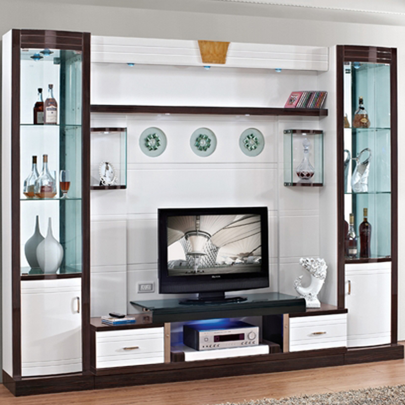 Small wine cooler modern brief fashion glass cabinet for Tv cabinet designs for hall