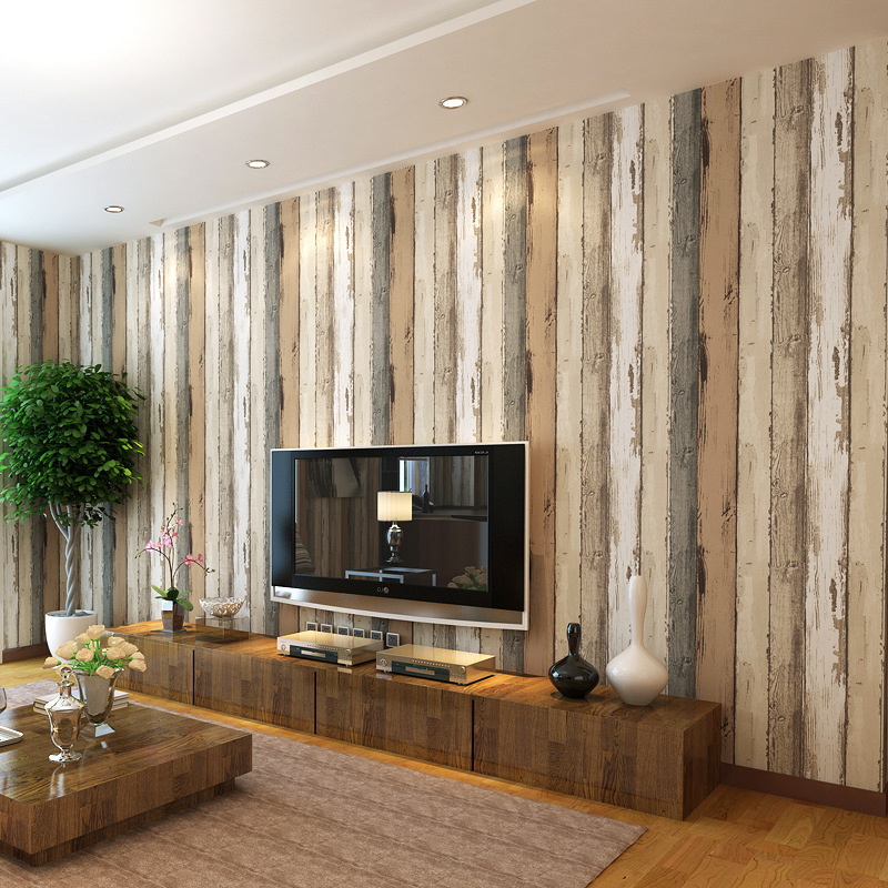 beibehang Mediterranean retro imitation wood blue vertical stripes non-woven wallpaper bedroom TV background wallpaper beibehang shop for living room bedroom mediterranean wallpaper stripes wallpaper minimalist vertical stripes flocked wallpaper