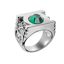 New Style Green Lantern Ring,the Green Crystal Green Lantern Stainless Steel Power Ring for Men(China)