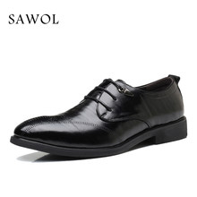 Men Dress Shoes Men Business Shoes Plus Big Size Brand Gentleman Split Leather 47 48 Brogue Shoes Men Formal Shoes Sawol(China)
