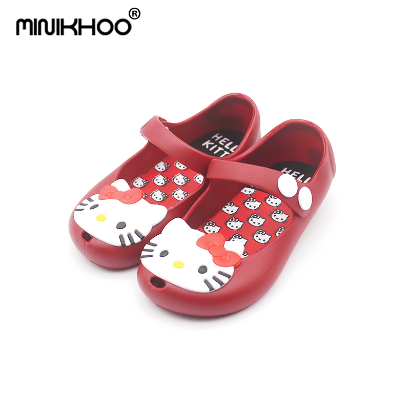 cd7f768a04e Mini Melissa 2018 Hello Kitty Jelly Shoes Sandals Boots Waterproof Shoes  Kids Kitty Cats High Quality EUR 24-29 Girls Sandals