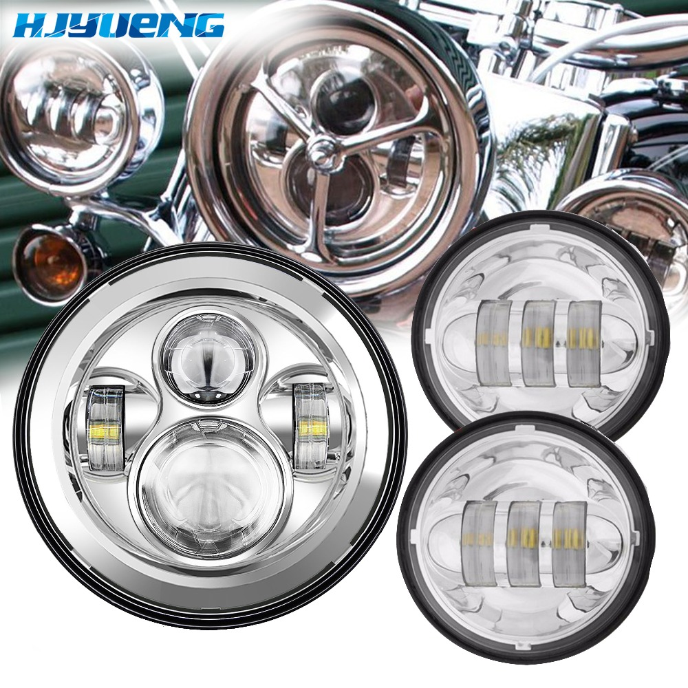 7 Inch Daymaker Projector Headlight assembly motorcycle for Harley Davidsion round headlamp 4.5 Harley parts LED moto passing 5 75 inch daymaker led motorcycle headlight projector lens faro moto for harley led 5 3 4 headlight round headlamp motorcycle