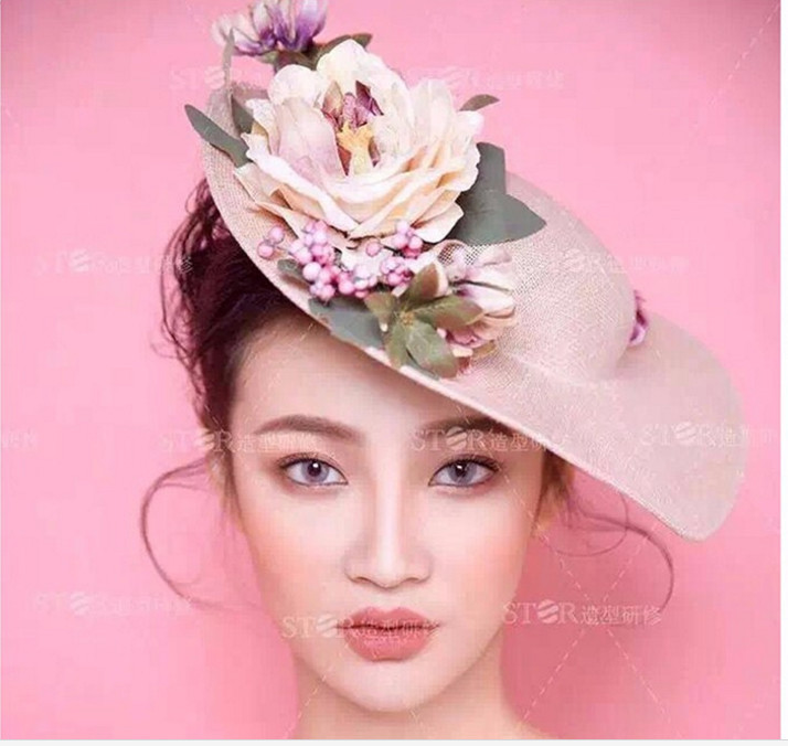 Hot 2017 new fashion cap headgear headdress bride in Western-style wedding photo bridal headdress female flower hair accessories