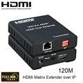 HDMI Extender sobre TCP/IP Matrix Extender hasta 120 M con IR 1080 P HDMI1.3/HDCP1.1 y 1.2 Soporte multipunto a multipunto