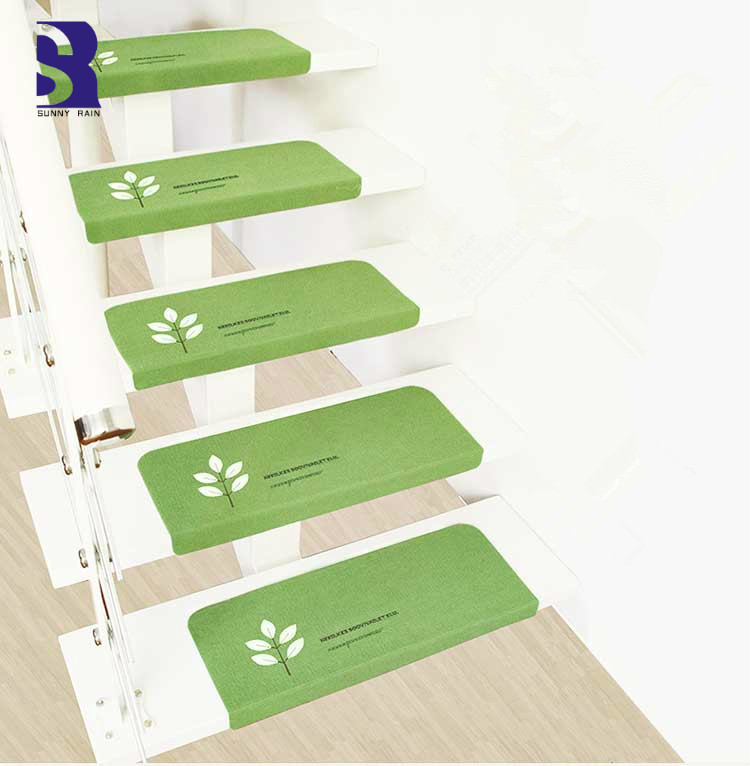 SunnyRain 1 Piece Noctilucous Stair Mat Self Adhesive Stair Treads Rug  Non Skid Stair Step Carpet70x22cm 55x22cm