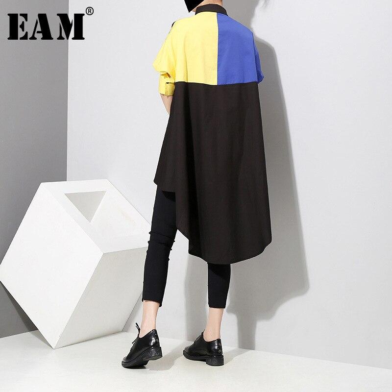 [EAM] 2018 New Summer Lapel Short Lantern Sleeve Yellow Hit Color Dovetail Irregular Shirt Dress Women Fashion Tide JF645