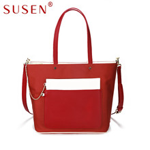 SUSEN 1024 Mujeres Top PU leather Satchel bolso Manija Color del remiendo de la Decoración de La Cadena Cross body Bag con Monedero 2 Unids conjunto