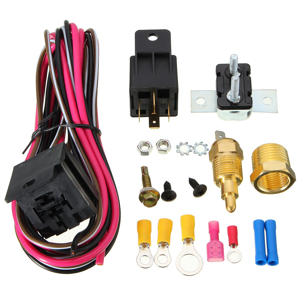 Car Engine Cooling Fan Thermostat Temperature Switch Sensor Relay How To Wire A For Electric 170185 Degree 50 Amp Kit