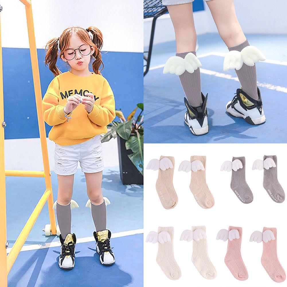 Kids Toddler Girls Ruffles Soft Knee High Leg Warmer Angel Wings Stockings Frugal For 0-4Y