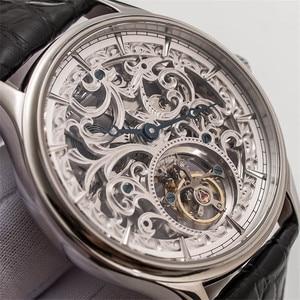 Image 1 - Voller Skelett Mechanische Uhren Männer der ST8000K Tourbillon bewegung Männer Armbanduhr Krokodil Lederband saphir Uhr
