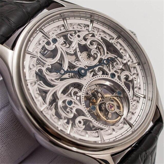 Voller Skelett Mechanische Uhren Männer der ST8000K Tourbillon bewegung Männer Armbanduhr Krokodil Lederband saphir Uhr