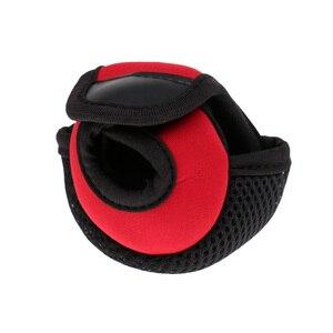 Image 5 - Kołowrotek wędkarski do rzucania przynęty osłony tarczy neoprenowy pokrowiec na kołowrotek odporny na zużycie kołowrotek torby czerwony/czarny 3.9x3.1x2.8 cala