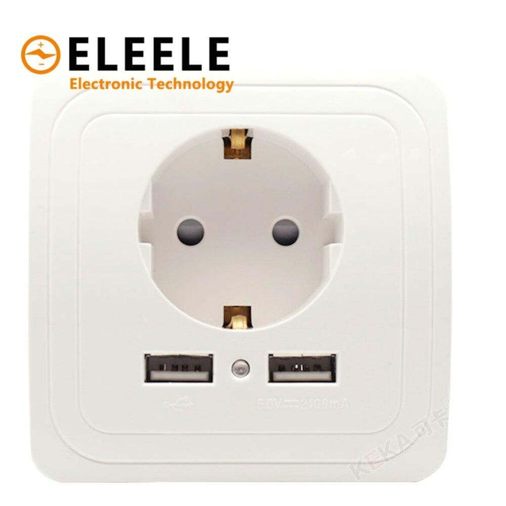 Beste Dual USB Port 2A Wand Ladegerät Adapter EU Stecker Buchse Power Outlet PanelGrounded Elektrische Wand Ladegerät Adapter Lade PN35